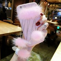 Cute 3D Mink Fur Ball Crystal Tassels Soft Case Cover for iPhone 6 / 6S 4.7 inch