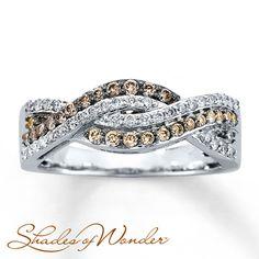 Brown Diamond Ring 1/2 ct tw Round-cut 10K White Gold