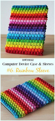Bobble Rainbow Sleeve Free Crochet Pattern - #Crochet Computer #Device Case Cozy Sleeves Free Patterns