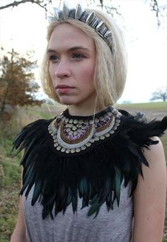 BLACK BEADED FEATHER COLLAR