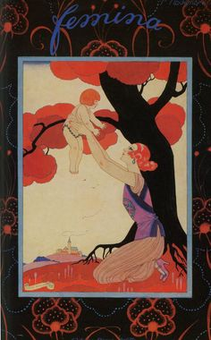 "Georges Barbier ""Femina"" French Art Deco periodical cover."