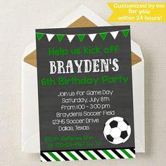 Soccer Invitation // Soccer Party Invite // Soccer Birthday //