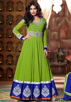 USD 85.71 Chitrangada Singh Green Georgette Floor Length Anarkali Suit 48390