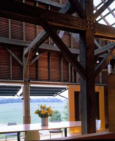 "Copper and steel awning system; ""Willoughby Design Barn"" by El Drado Inc"