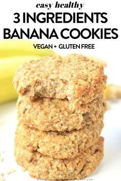 3 INGREDIENTS Banana Peanut Butter Cookies #3ingredients #cookies #banana #vegan #vegancookies #glutenfree #oatmeal #peanutbutter #breakfast Peanut Butter Banana Cookies, Banana Oatmeal Cookies, Peanut Butter Oatmeal, Healthy Peanut Butter, Healthy Dessert Recipes, Vegan Desserts, Whole Food Recipes, Cookie Recipes, Bar Recipes