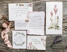 Botanical Watercolor Invitation Suite | Sally Pinera Photography | Luminous Lilac Gray Wedding Palette