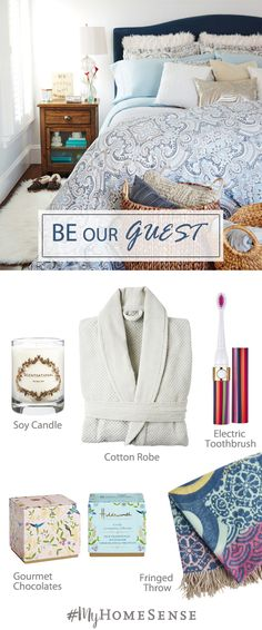 Before guests arrive, stock up their room with all the comforts of home, from scented candles to luxurious bathrobes to extra toothbrushes. But be warned – if you make it too cozy they may never want to leave! Find these guest room essentials and more at a HomeSense store near you.