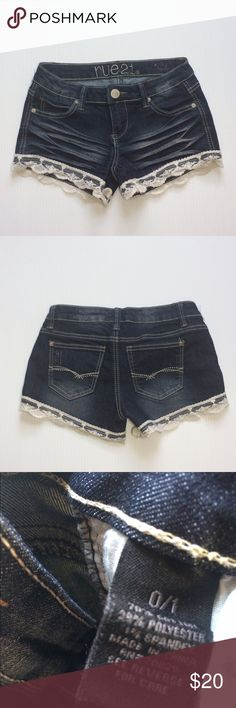 Distressed Denim and Lace Jean Shorts Adorable!!  Excellent condition - like new. No flaws. Size 0/1. No trades. Shorts Jean Shorts