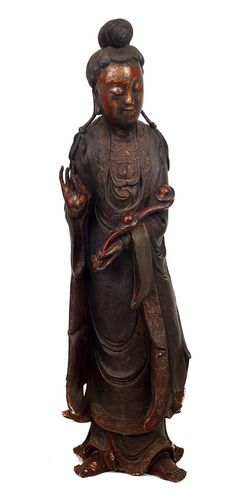 Lg 19C Chinese Lacquer Wood Quan Yin Buddha Figure Chinese Kunst, Buddha Figures, Guanyin, China, Buddhist Art, Qing Dynasty, Wood Carvings, Tiger, Cannon