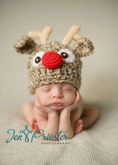 PDF CROCHET PATTERN 023 - Reindeer hat- Multiple sizes from newborn through 12 months. $4.95, via Etsy.