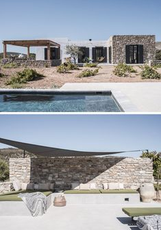 decordemon Casa Nigri on the island of Antiparos, Greece is part of Greek house - Facade Design, Exterior Design, House Design, Stone Facade, Greek House, Mediterranean Homes, Mediterranean Architecture, Tuscan Homes, Desert Homes