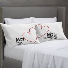 MRS and MRS Personalized Pillowcases Lesbian Couple Gift Idea - Wedding, Civil Union, Anniversary, Valentine's Girlfriends Pillow Cases