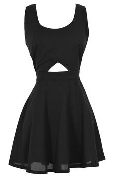 Cutout Fit and Flare Basket Weave Skater Dress in Black