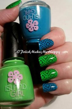 I received a nice surprise after my sister went to Hawaii this spring... Island Girl fingernail polish! Blue is Aloha Magic, and Green is Aloha Color.  The application was so nice... the blue was opaque in 3 coats, the green in 4 coats, they had a nice matte finish, which I forgot to get a picture of! These polishes smell like the tropics and are simply beautiful!! I stamped with SC black and used bornprettystore BP-L-003 stamping plate. ‪#‎lovenails‬ ‪#‎hawaii‬ ‪#‎islandgirl‬