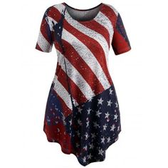 Free shipping 2018 Plus Size Flowy American Flag T-shirt LOVE RED X under $19.77 in T-shirts online store. Best Lace Short Romper and Tulle Dress for sale at Dresslily.com.