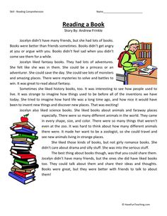 This Reading Comprehension Worksheet - Reading a Book is for teaching reading comprehension. Use this reading comprehension story to teach reading comprehension. Reading Comprehension Worksheets, Reading Fluency, Reading Passages, Reading Skills, Reading Response, Comprehension Strategies, Math Worksheets, English Reading, English Book