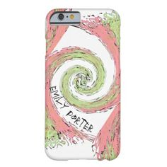 Pink and Green Abstract Spiral Pattern Barely There iPhone 6 Case - pink gifts style ideas cyo unique