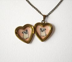 Pugs Heart Locket - Pet Lover Gift - Locket Necklace with Pug Dogs Illustrations