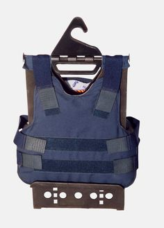 Another thing that I should have invented.  Allows ballistic vest to dry without stretching straps or wrinkling panels.