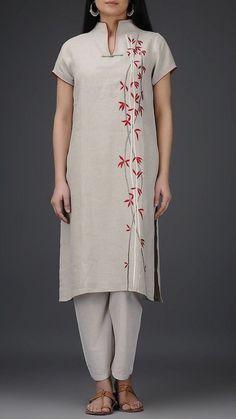 Grey Roll-Up Sleeve Embroidered Linen Kurta Embroidery On Kurtis, Hand Embroidery Dress, Kurti Embroidery Design, Kurti Patterns, Dress Neck Designs, Kurta Designs Women, Roll Up Sleeves, Summer Outfits Women, Indian Designer Wear