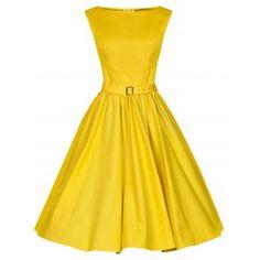 Bridesmaid Dress Lindy Bop 'AUDREY' HEPBURN STYLE VINTAGE 1950's BLAZING YELLOW ROCKABILLY SWING DRESS