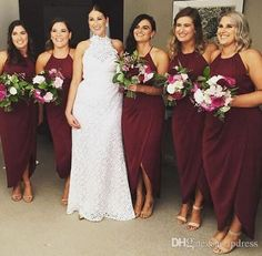 Sexy Burgundy Bridesmaid Dresses Chiffon Side Split Fancy Wedding Party Dresses Custom Made Royal Blue,Yellow,Champagne Cheap Party Dresses Bridesmaid Dresses Bridesmaids Dresses Online with $89.0/Piece on Lpdress's Store | DHgate.com