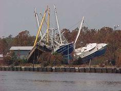 Shrimp boats in the marsh grass after Hurricane Katrina - Bayou La Batre - Alabama