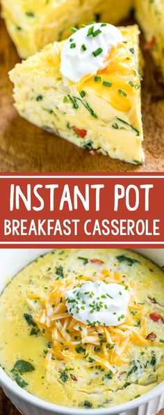 This Instant Pot Breakfast Casserole is basically the deep-dish crust-less quiche of my dreams! Serve it up for breakfast, brunch, or brinner and feel free to make it in advance - it\'s great the following day! #instantpot #pressurecooker #breakfast #casserole #eggs #vegetarian