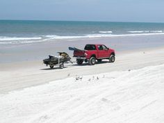Daytona Beach, Florida where the sand is so firm you can drive on it.