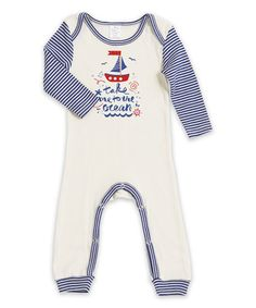 Look at this #zulilyfind! Ivory & Blue Stripe 'Take Me to the Ocean' Playsuit - Infant #zulilyfinds