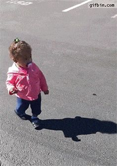 It took me a while to figure out why she's running, but finally I realized she is scared of her shadow!