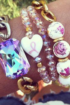 Beautiful pink awareness bracelet by jewelsdejuliet on Instagram and Facebook