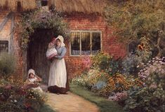 Arthur Claude Strachan Painting Reproductions For Sale Cottage Art, Storybook Cottage, Cottage Gardens, Beauty In Art, Oil Painting Reproductions, Illustrations, Cool Posters, Mother And Child, Figure Painting
