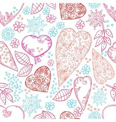 Hearts and flowers seamless texture vector by belopoppa on VectorStock®
