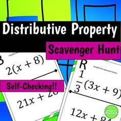 Students practice the distributive property in a fun, self-checking scavenger hunt format! Instead of just sitting at their seats doing a worksheet, they can be up moving around the room! Post the pages around your room in a random order. The students may start on any letter they choose.