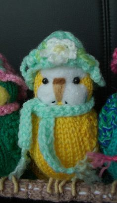 Budgerigar  Knitted life size Budgie   Lily    swing and hat + Christmas hat !!