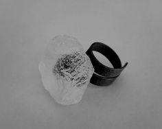 Iliana Tosheva. Ring: Untitled, 2015. Blackened sterling silver, hand carved translucent bio resin.