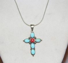 Sterling Silver Necklace Turquoise and Coral Cross Pendant CA23
