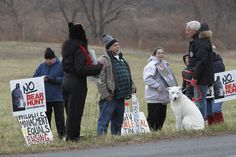 Former US Senator Robert Torricelli (right) ;  speaks with hunt protesters during the final day of the 2016 Bear Hunt at Whittingham Wildlife Management Area in  Fredon. 12/10/2016  Photo by Jerry McCrea for NJ Advance Media
