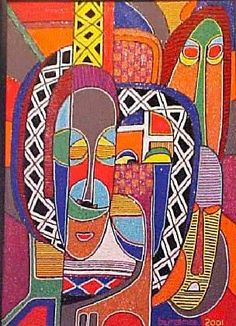 Paintings by esteemed Nigerian painter Chief Jimoh Buraimoh - as well as his workshop for children - will be a highlight of the 2005 Northwest Louisiana Black Arts Festival. Seed Bead Art, African Tattoo, Acrylic Painting Lessons, Africa Art, Indigenous Art, Beauty Art, Teaching Art, Embroidery Art, Illustrations