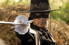 The most famous masked man, Zorro, as brought to life by Antonio Banderas in The Legend of Zorro. (The film was the sequel to The Mask of Zorro. Zoro, Halloween Legends, The Legend Of Zorro, The Mask Of Zorro, First Superhero, Cinema, The Lone Ranger, Hero Movie, Les Themes