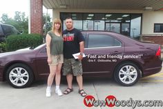 "Eric Fahling from Chillicothe, Missouri purchased this 2012 Ford Fusion and wrote, ""5 stars! Fast and friendly service!! Super sales team!!"" To view similar vehicles and more, go to www.wowwoodys.com today!"