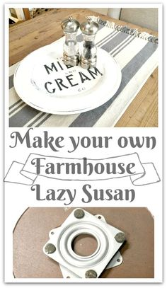 to Make a DIY Lazy Susan Create your own Lazy Susan using found items at the thrift store! Create your own Lazy Susan using found items at the thrift store! Italian Bedroom Furniture, Farmhouse Furniture, Farmhouse Decor, Rustic Furniture, Wooden Furniture, Furniture Handles, Urban Furniture, Cheap Furniture, Kitchen Furniture