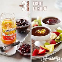 Looking for a delicious dessert idea? Try our Fruit Fondue, made with Smucker's Sweet Orange Marmalade and Smucker's Hot Fudge Topping.