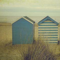 England Blue Beach Huts Beach House  8x8 inch  Photograph Beach by TimIrving