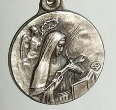 Small Vintage Spanish Saint Rose of Lima Medal Pendant Art Nouveau Medallion…