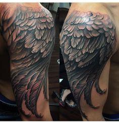 #Feather #tattoo #feathertattoo #wingtattoo #eagle #eaglewing #eagletattoo #ascensiontattoo #NeilNelson #blackandgreytattoo