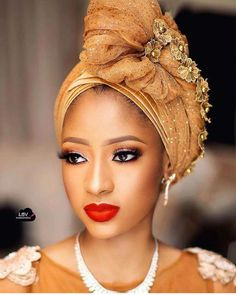2019 Lovely Makeup Ideas for Blackwomen to Try African Attire, African Fashion Dresses, African Wear, African Women, African Lace, Scarf Hairstyles, African Hairstyles, Mode Turban, Turban Hat