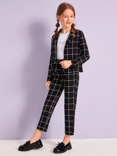 To find out about the Girls Grid Blazer & Tie Waist Pants Set at SHEIN, part of our latest Girls Two-piece Outfits ready to shop online today! Dresses Kids Girl, Kids Outfits Girls, Cute Girl Outfits, Cute Outfits For Kids, Casual Outfits, Fashionable Outfits, Girls Fashion Clothes, Tween Fashion, Fashion Outfits