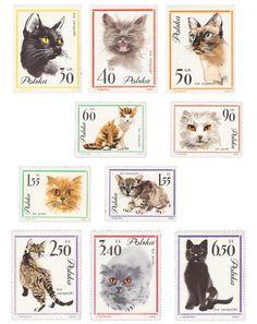 Janusz Grabiański - cat paintings for Polish stamps